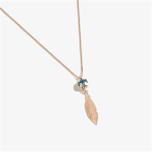 Dream Catcher Single Aquamarine Swarovski Taşlı Kolye