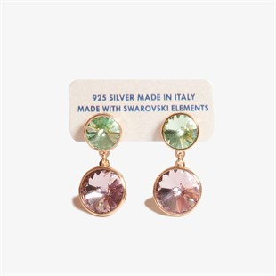 Green & Purple Swarovski Taşlı Rose Gold Küpe